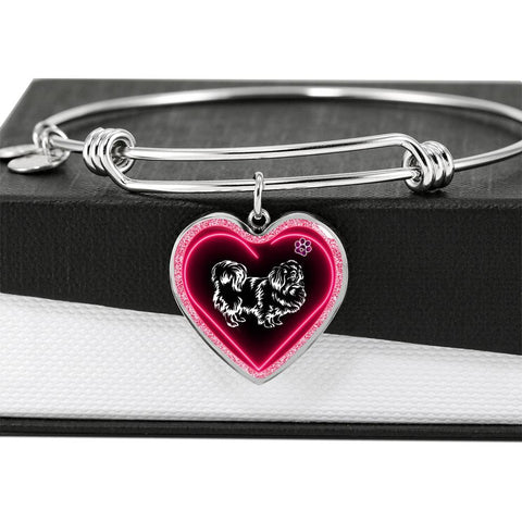 Pekingese Dog Print Heart Pendant Bangle
