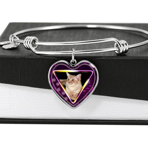 Javanese Cat Print Heart Pendant Bangle