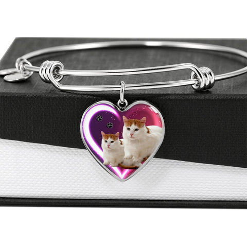 Turkish Van Cat Print Heart Pendant Bangle