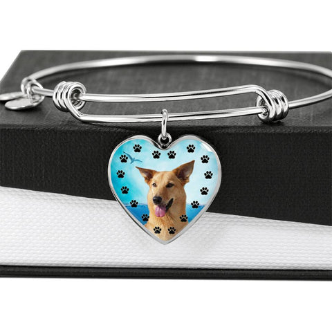 Chinook Dog Print Luxury Heart Charm Bangle