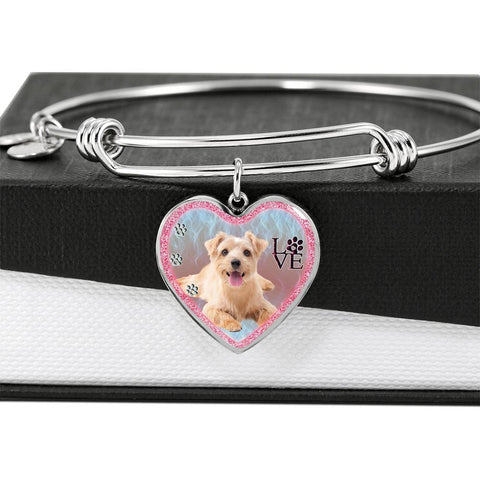Norfolk Terrier Dog Heart Pendant Bangle