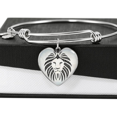 Lion Black&White Art Print Heart Pendant Bangle