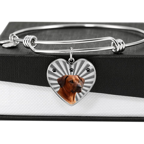 Rhodesian Ridgeback Print Luxury Heart Charm Bangle
