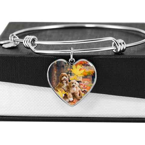 Labradoodle Print Luxury Heart Charm Bangle