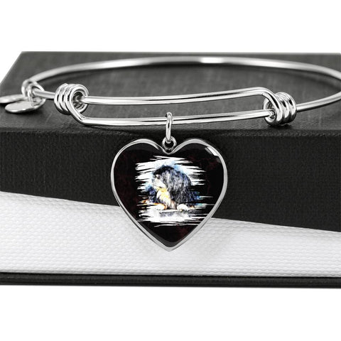 Tibetan Mastiff Dog Art Print Heart Pendant Bangle