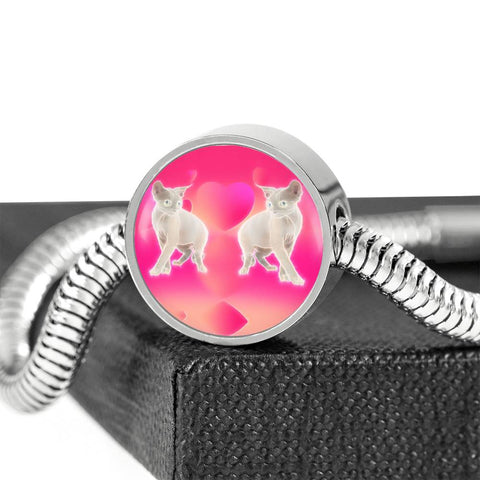 Devon Rex Cat Print Circle Charm Steel Bracelet
