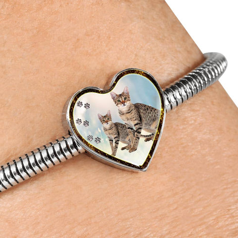 Savannah Cat Print Heart Charm Steel Bracelet