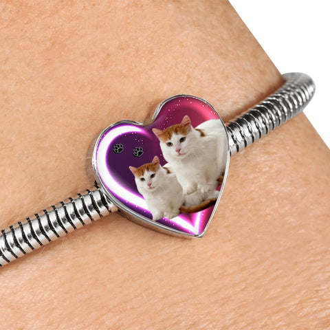 Turkish Van Cat Print Heart Charm Steel Bracelet