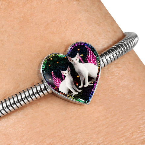 Devon Rex Cat Print Heart Charm Steel Bracelet