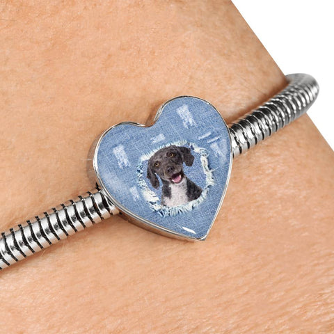 Spanish Water Dog Print Heart Charm Steel Bracelet