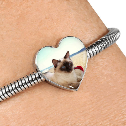 Cute Balinese Cat Print Heart Charm Steel Bracelet