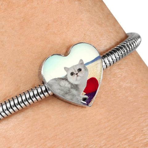 Exotic Shorthair Cat Print Heart Charm Steel Bracelet