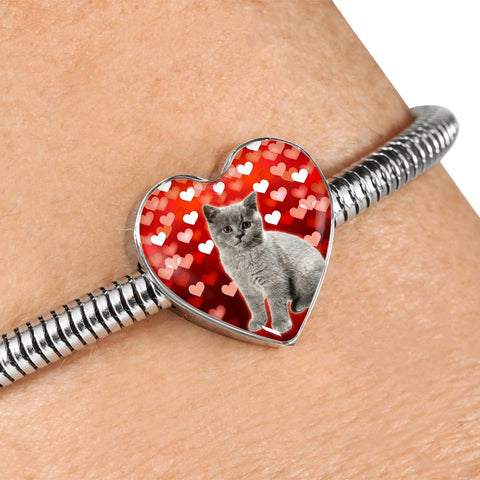 British Shorthair Cat Print Heart Charm Steel Bracelet
