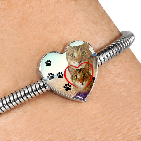 Pixie Bob Cat Print Heart Charm Steel Bracelet