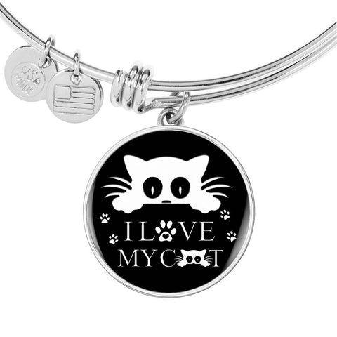 """ I Love My Cat"" Black Print Circle Pendant Luxury Bangle"
