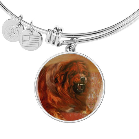 Tibetan Mastiff Dog Print Circle Pendant Luxury Bangle
