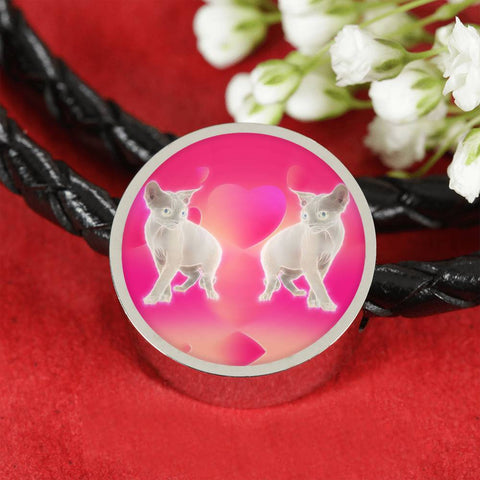 Devon Rex Cat Print Circle Charm Leather Bracelet