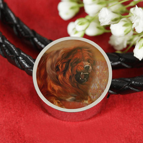Tibetan Mastiff Dog Print Circle Charm Leather Bracelet