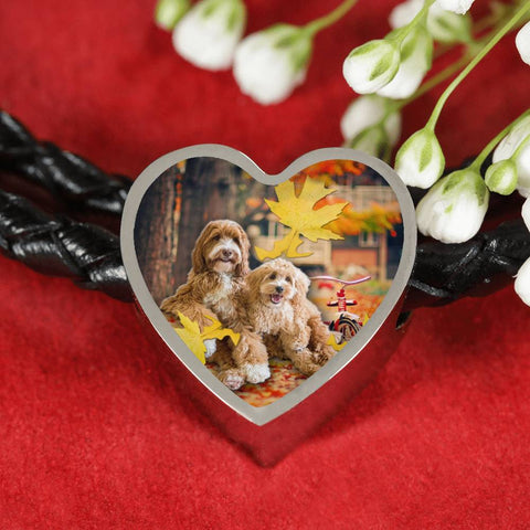 Labradoodle Print Heart Charm Braided Bracelet