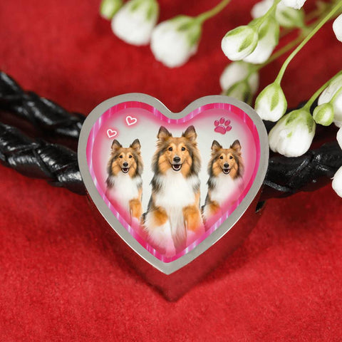 Rough Collie Dog Heart Charm Leather Woven Bracelet