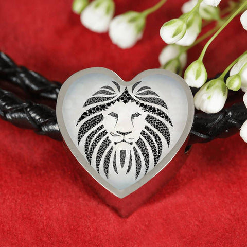 Lion Black&White Art Print Heart Charm Leather Woven Bracelet