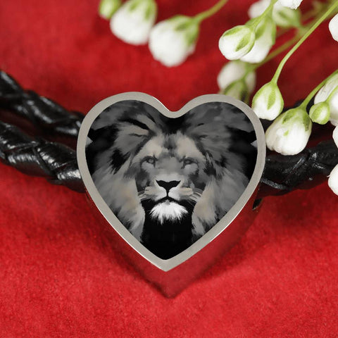 Lion Grey Art Print Heart Charm Leather Woven Bracelet