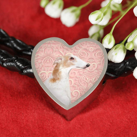 Borzoi Dog Print Heart Charm Leather Bracelet