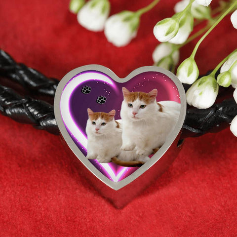 Turkish Van Cat Print Heart Charm Leather Woven Bracelet