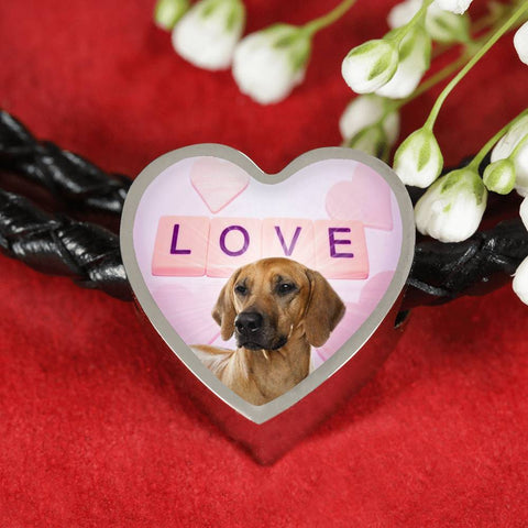 Rhodesian Ridgeback Dog Print Heart Charm Leather Bracelet