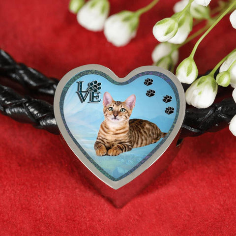 Toyger Cat Print Heart Charm Leather Woven Bracelet
