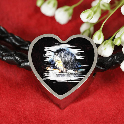 Tibetan Mastiff Dog Art Print Heart Charm Leather Woven Bracelet