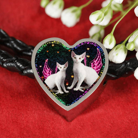 Devon Rex Cat Print Heart Charm Leather Woven Bracelet