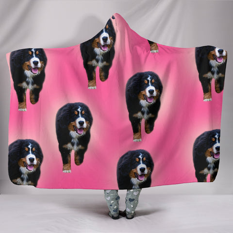 Racing Bernese Mountain Dog Print Hooded Blanket