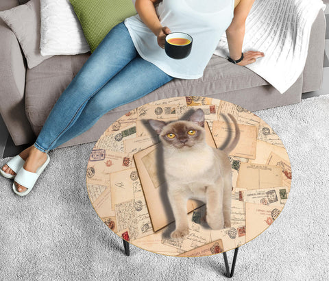 Cute Burmese Cat Print Circular Coffee Table