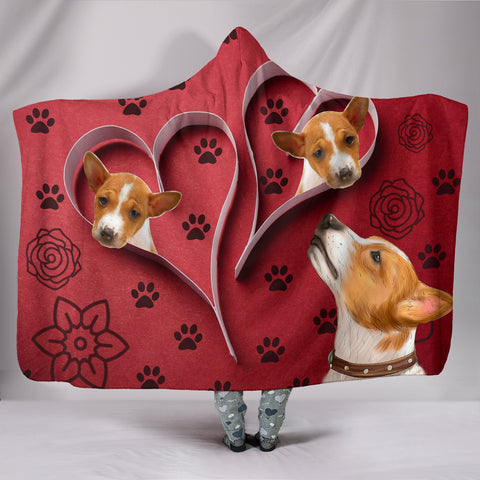 Basenji Dog Paws Print Hooded Blanket