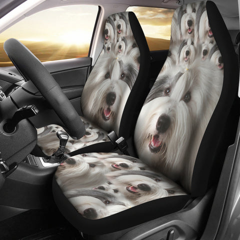 Old English Sheepdogs In Lots Print Car Seat Covers