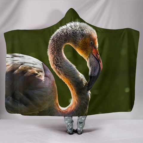 Beautiful Swan Print Hooded Blanket