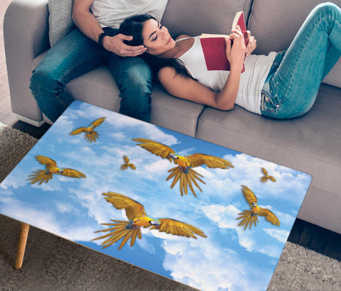 Blue And Yellow Macaw In Sky Print Rectangular Coffee Table