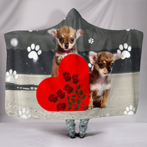 Chihuahua Puppies With Love Heart Print Hooded Blanket