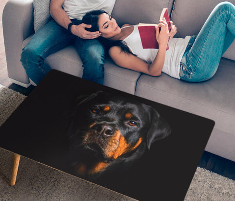 Rottweiler Dog On Black Print Rectangular Coffee Table