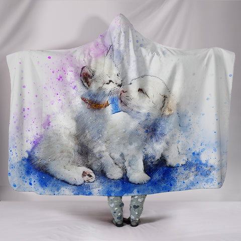 Cute Cat And Dog Watercolor Art Print Hooded Blanket