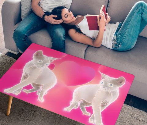 Devon Rex Cat Print Rectangular Coffee Table