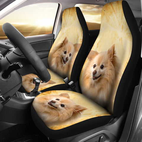 Cute Pomeranian Dog Print Car Seat Covers
