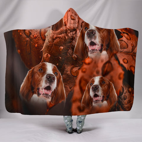 Cute Irish Red and White Setter Print Hooded Blanket