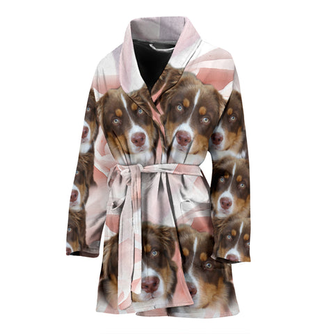 Cute Miniature American Shepherd Print Women's Bath Robe