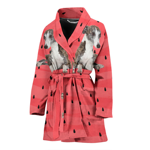 Whippet Dog Print Women's Bath Robe