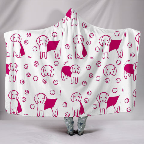 Cute Beagle dog Patterns Print Hooded Blanket