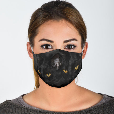 Bombay Cat On Black Print Face Mask