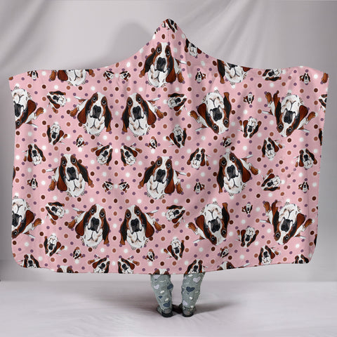 Cute Basset Hound Dog Pattern Print Hooded Blanket