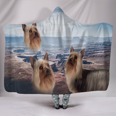 Cute Australian Silky Terrier Print Hooded Blanket